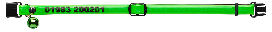 fluorescent green personalised reflective cat collar