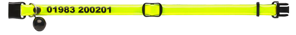 fluorescent yellow personalised reflective cat collar