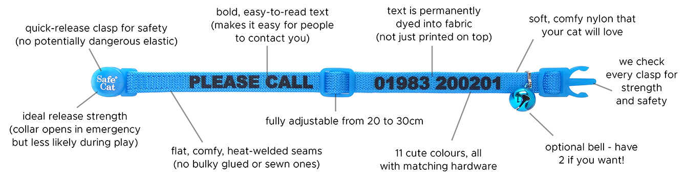features of our personalised reflective cat collars