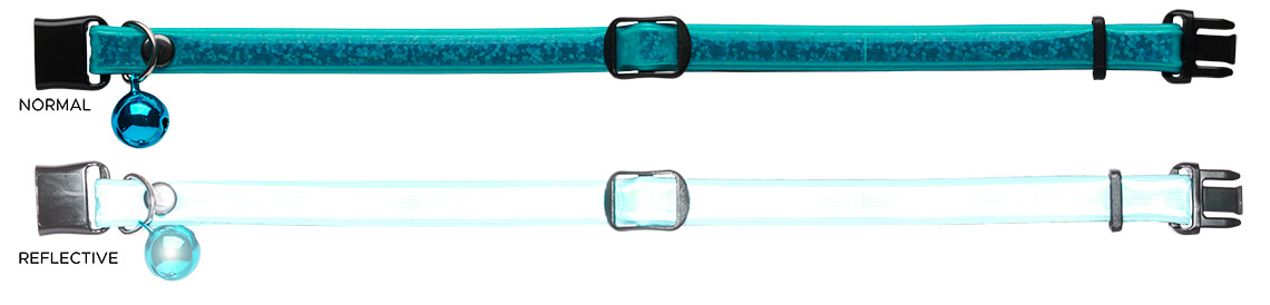 teal in normal light and reflecting in headlights